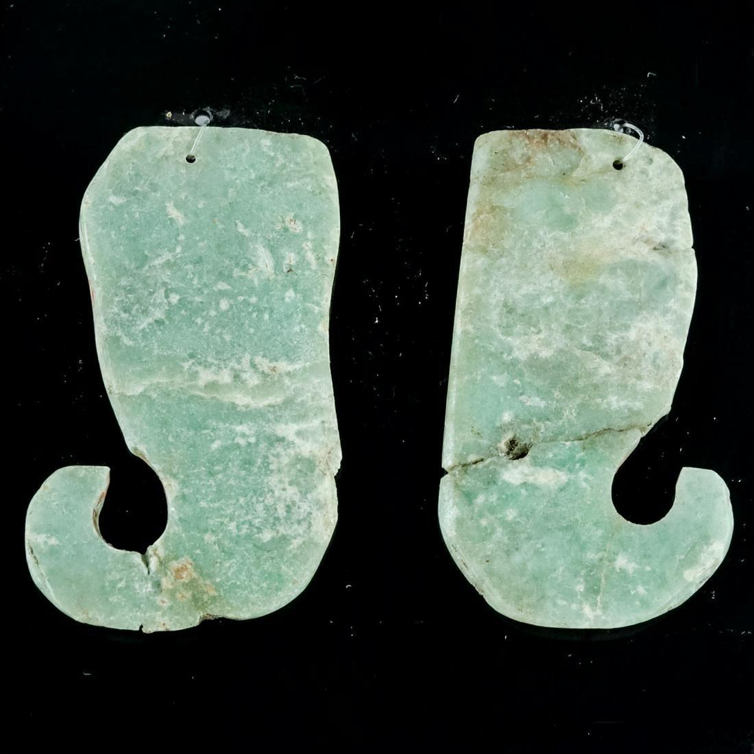 Maya Greenstone Earrings Hook-Form (matched pair)