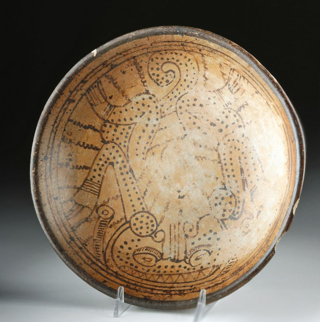 Large Maya Pottery Bowl w/ Jaguar