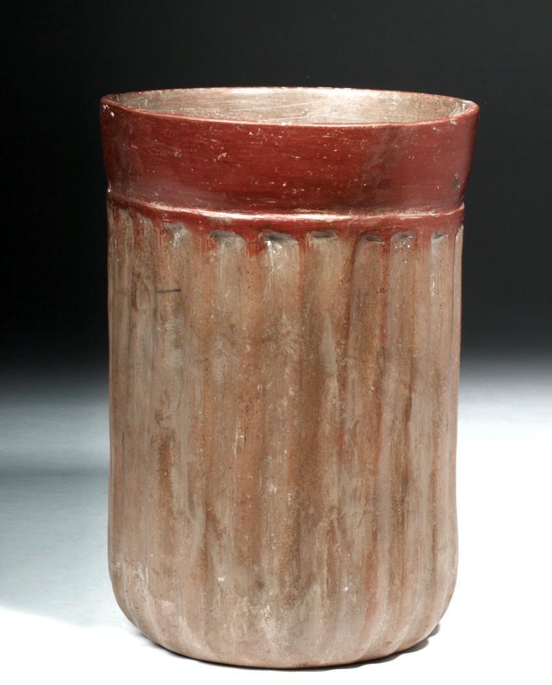 Tall Maya Ceramic Ribbed Cylinder