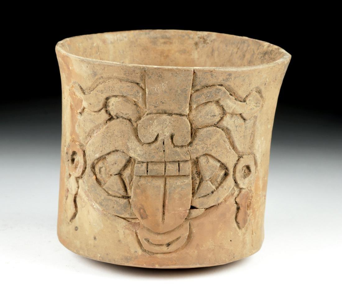 Maya Carved Pottery Cylinder - Jaguar Face