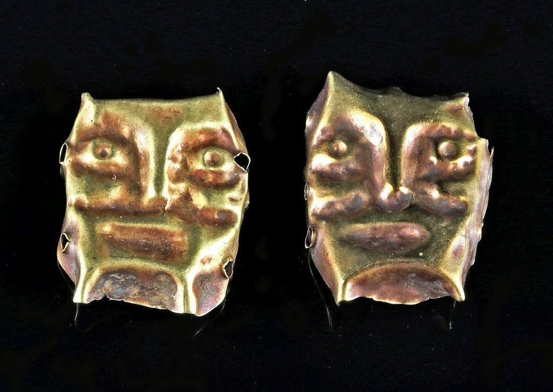 Early Chavin Gold Trophy Head Beads - 2.2 g