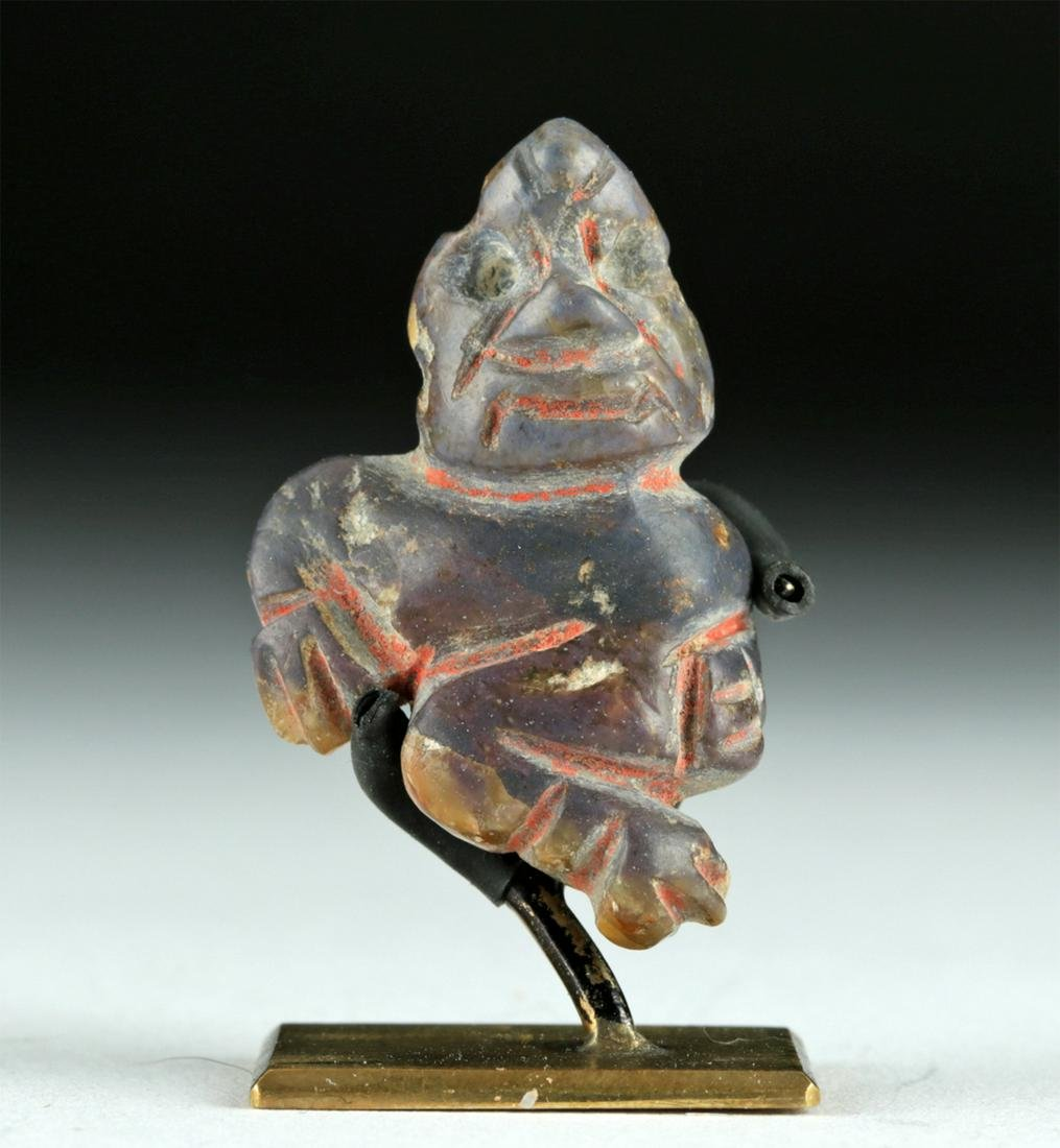 Chavin Sodalite Figural Amulet, Cinnabar Deposits