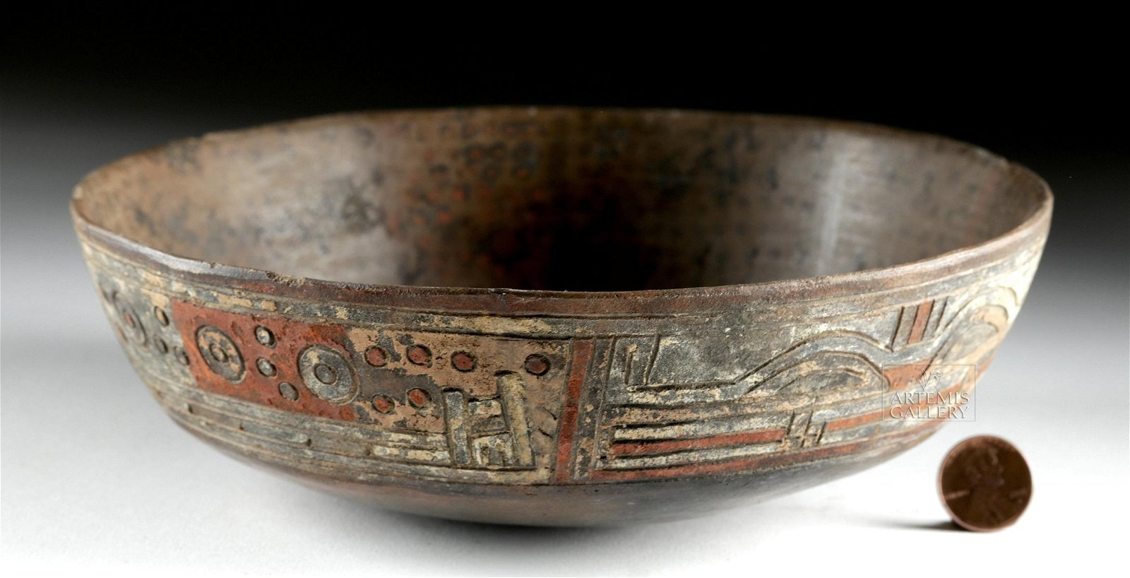 Paracas Painted / Incised Pottery Bowl