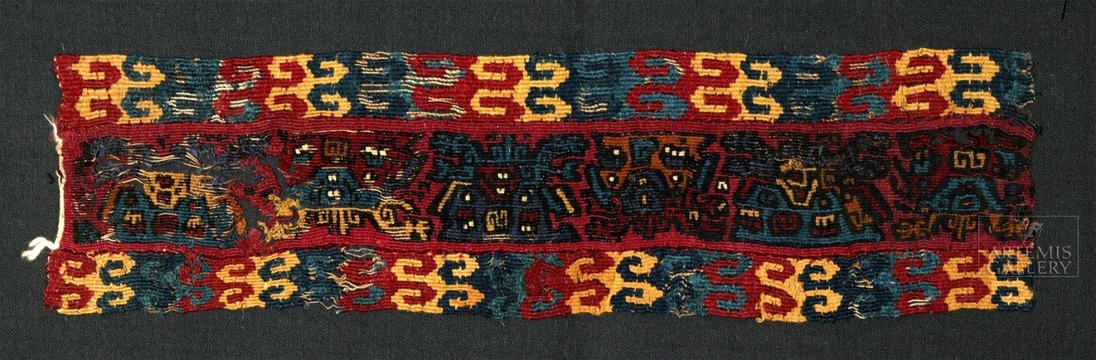 Proto-Nazca Polychrome Textile Fragment, Lightning Gods