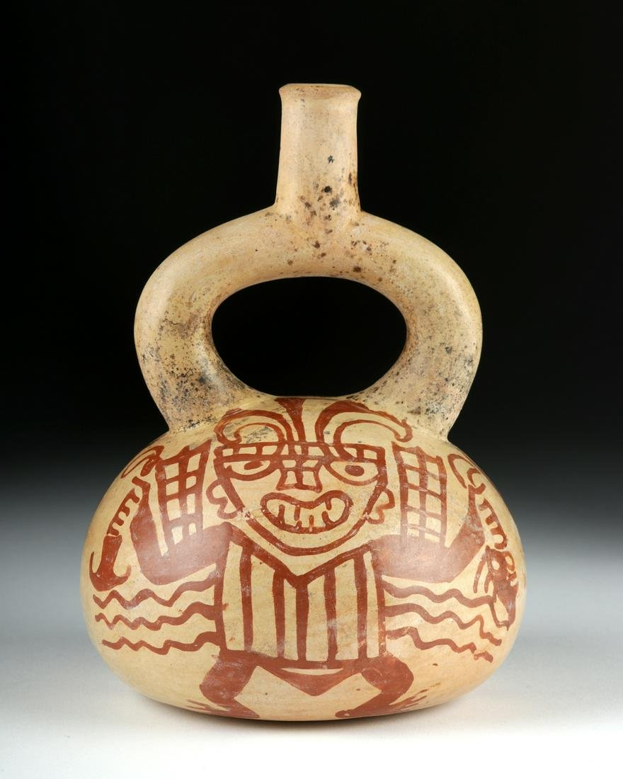 Moche Bichrome Stirrup Vessel - Warrior / Trophy Head