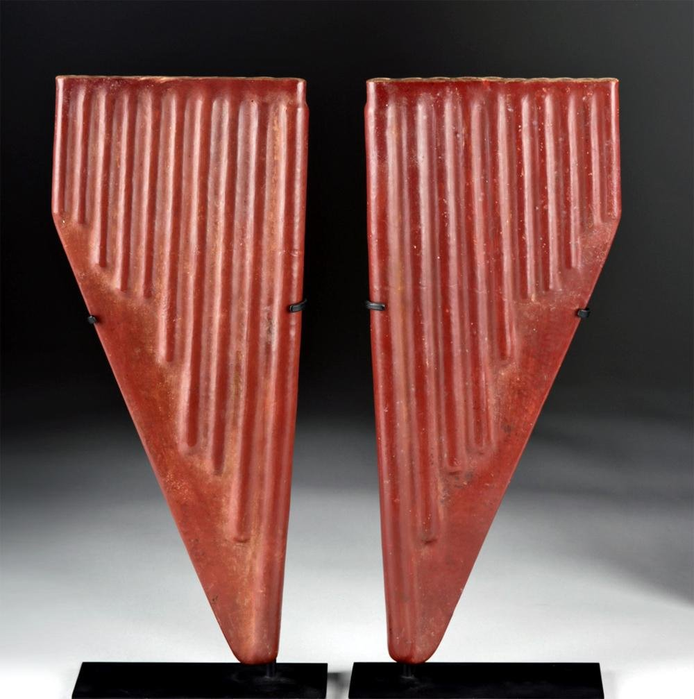 Gorgeous Nazca Redware Panpipes - Matched Pr