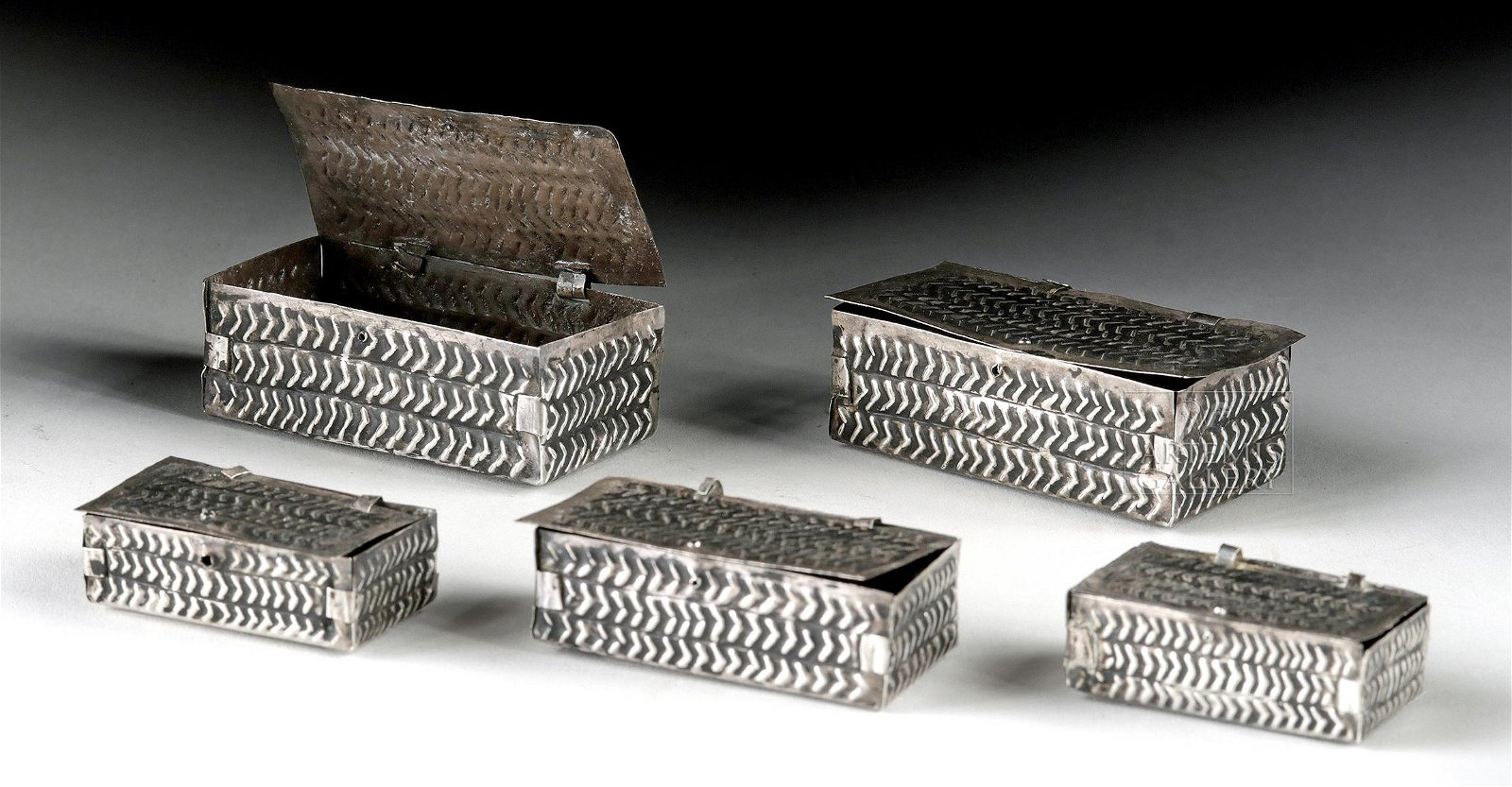 Rare Sican Lambayeque Silver Boxes (5 varying sizes)