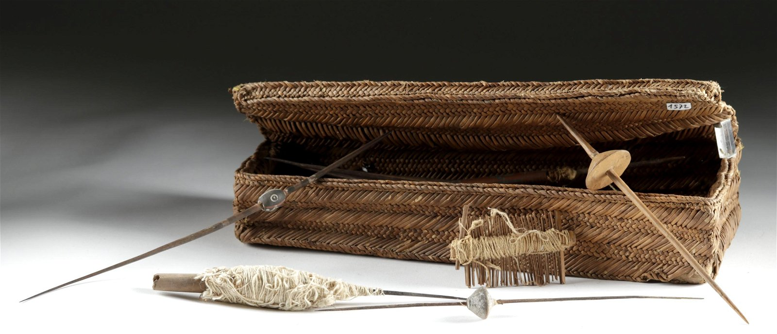 Chancay Textile Weaver Basket w/ Tools
