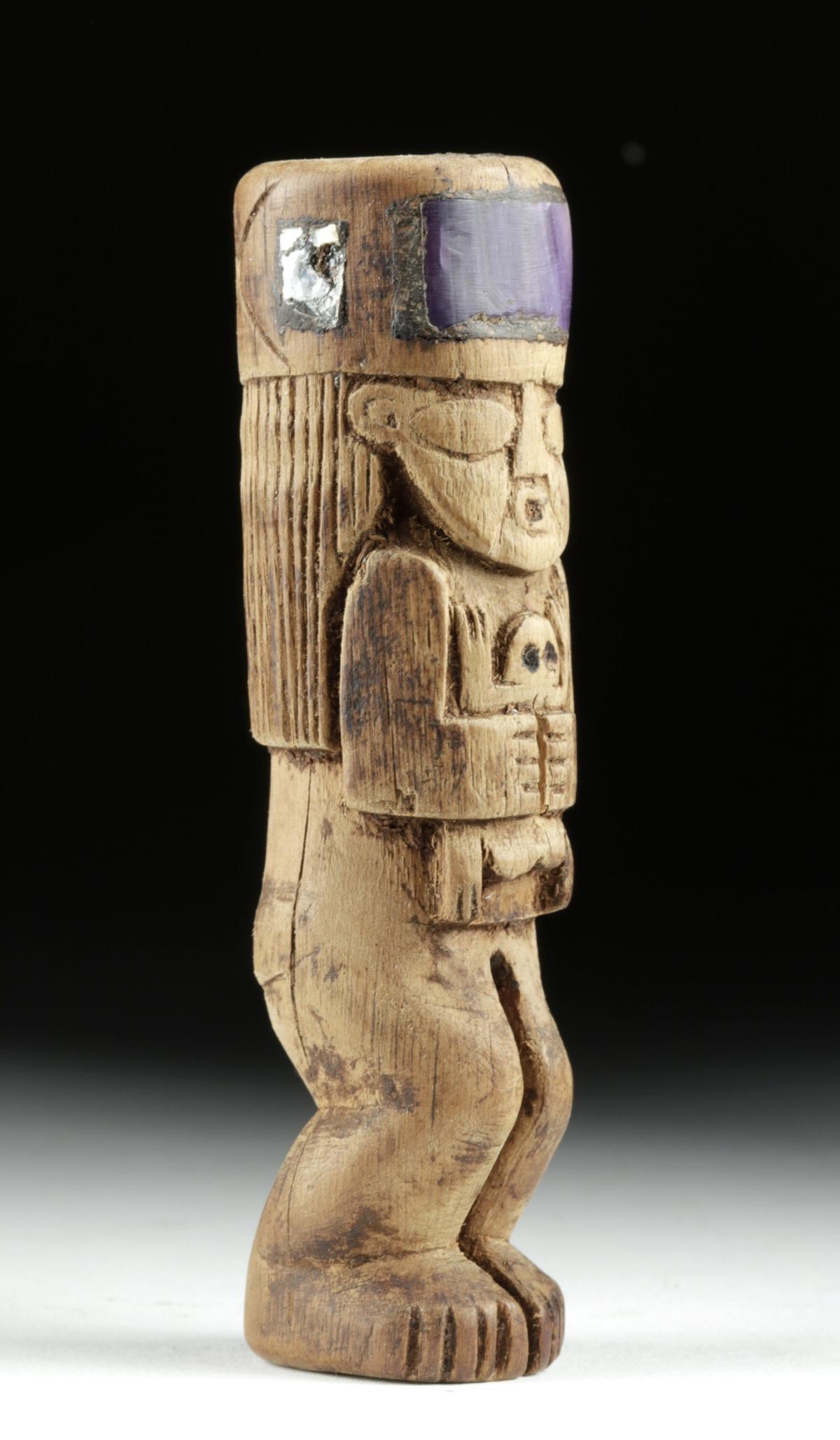 Huari Wood Standing Totem w/ Shell Inlay