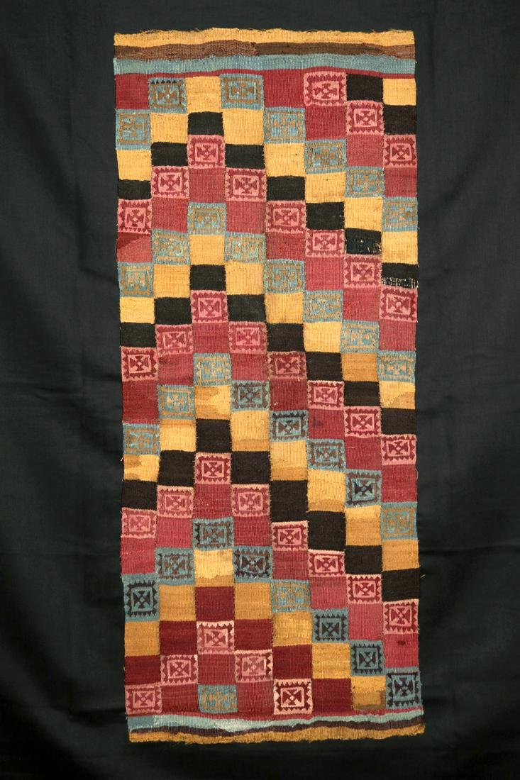Ica Polychrome Textile Panel Fragment - Checkered Motif