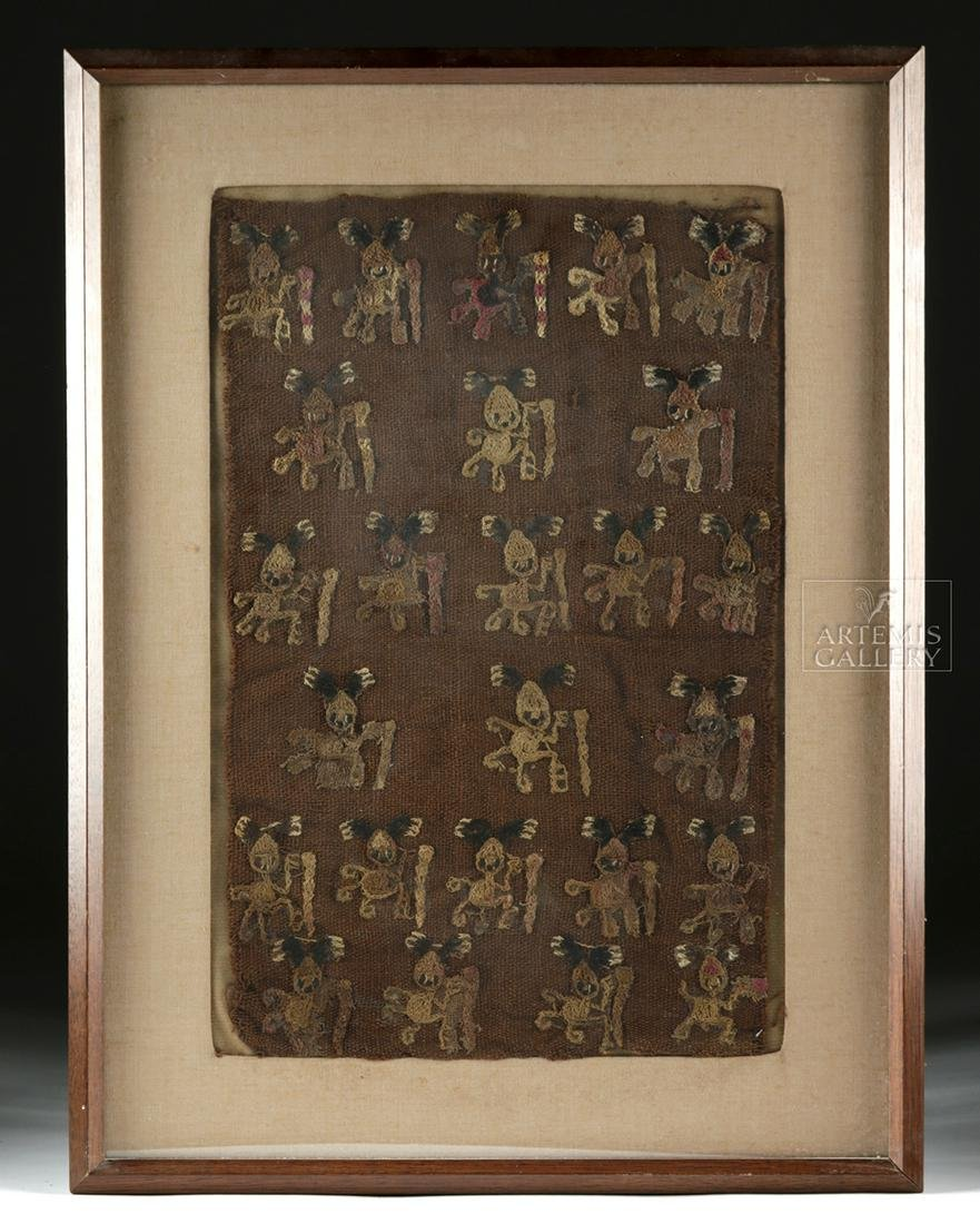 Framed Chancay Textile Panel w/ Zoomorphic Figures