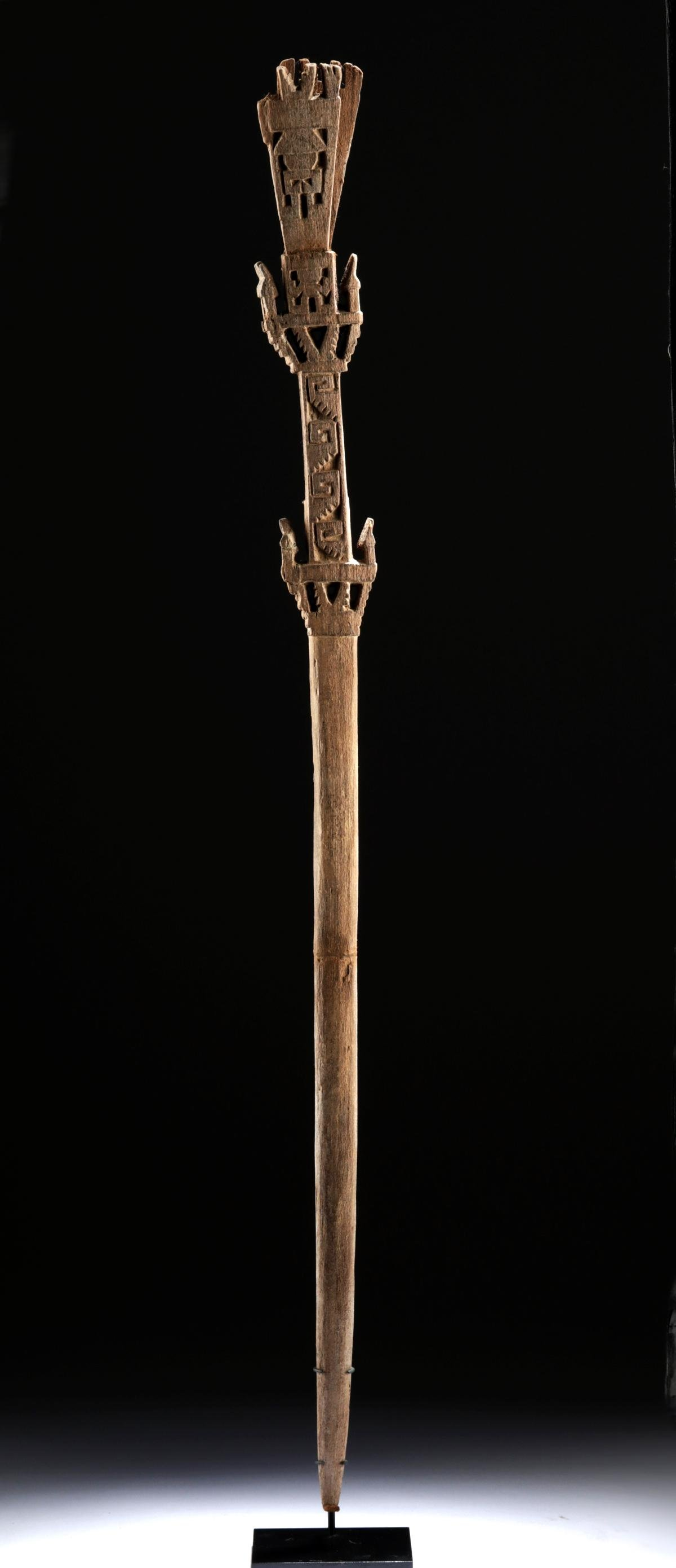 Royal Chimu Wood Staff w/ Relief Carvings