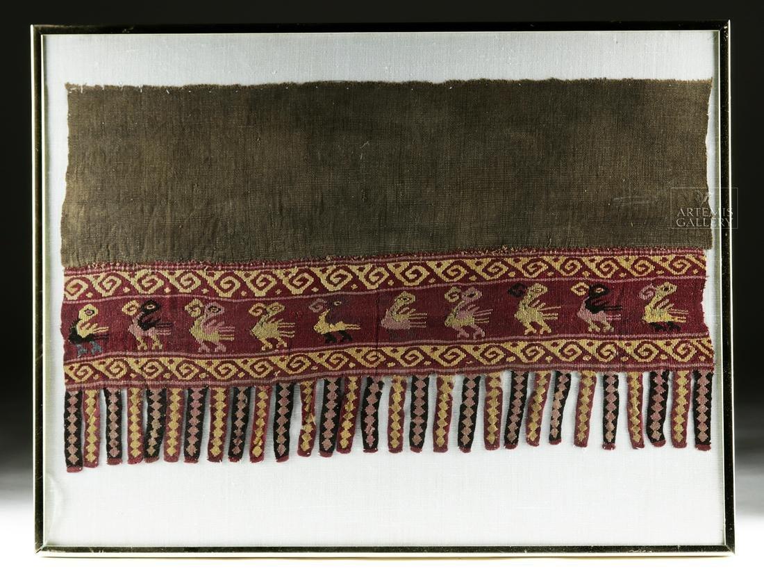 Framed Chimu Textile Fragment w/ Birds and Fringe
