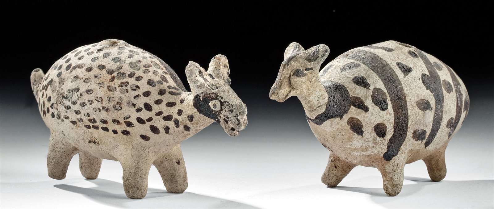 Delightful Pair Chancay Bi-chrome Llama Vessels