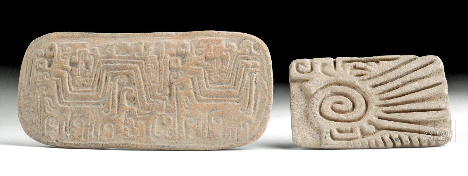 Lot of 2 Chorrera & Jamacoaque Pottery Stamp Seals