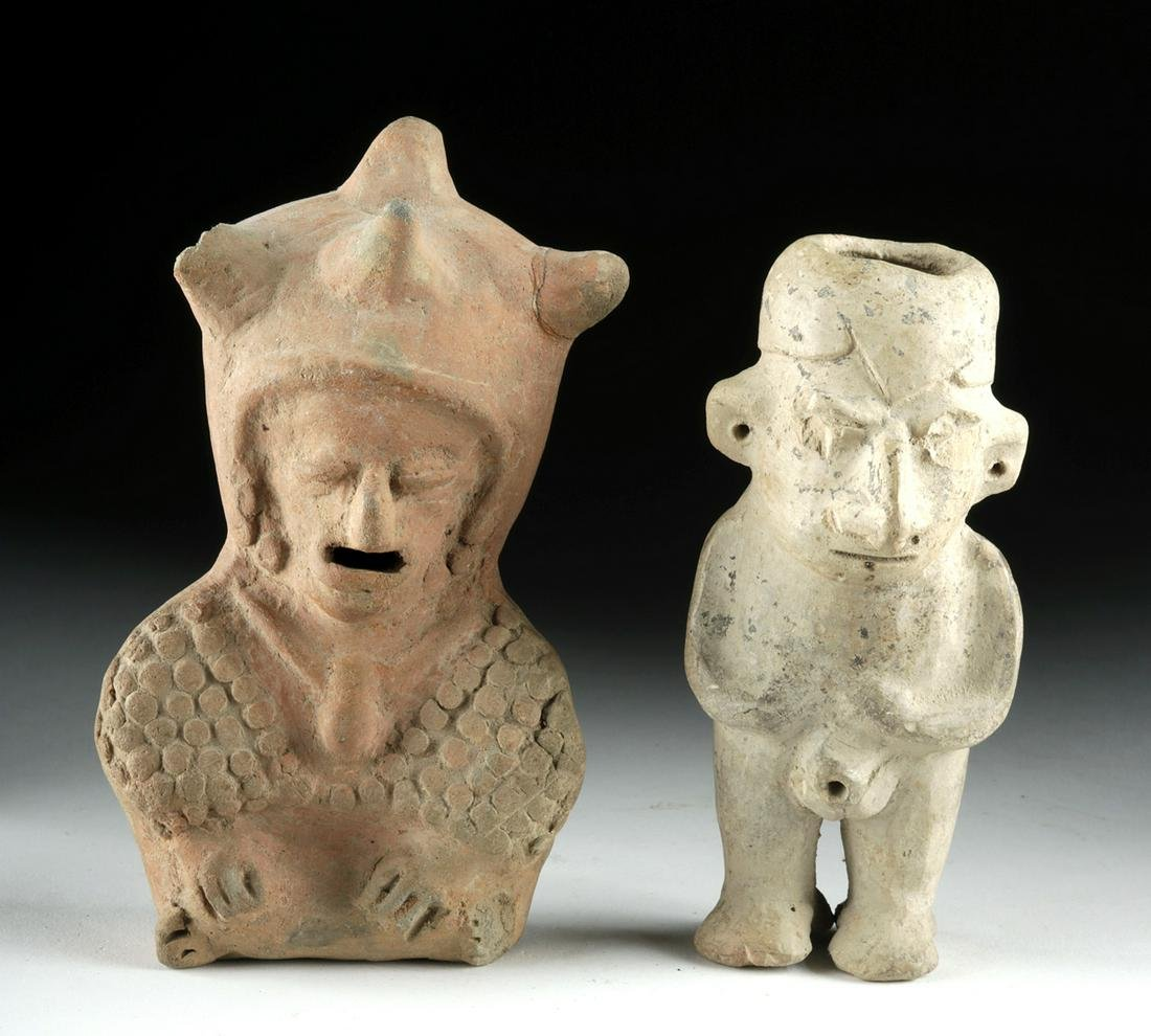 Lot of 2 Museum Exhibited Ecuadoran Pottery Figures