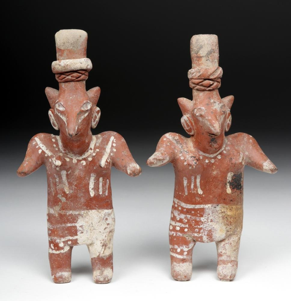 Matched Pair Jalisco Pottery Sheepface Figures