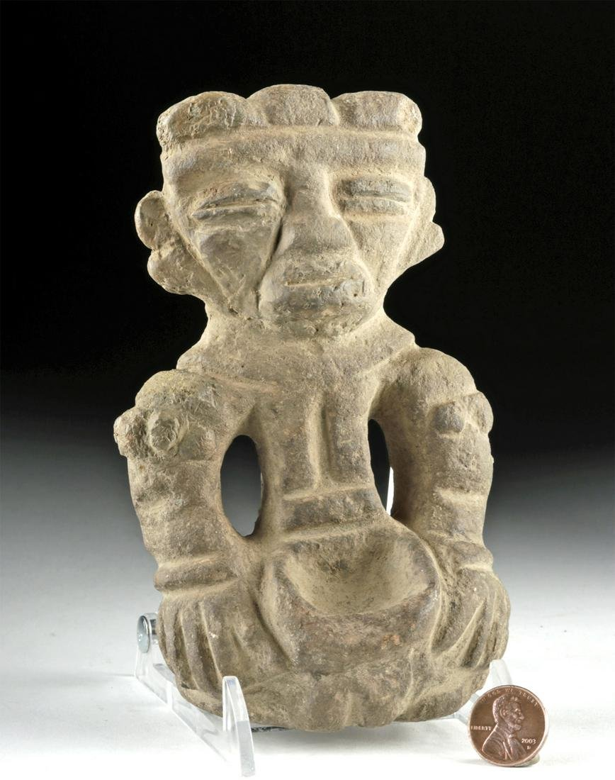 Teotihuacan Stone Seated Figure Holding a Bowl