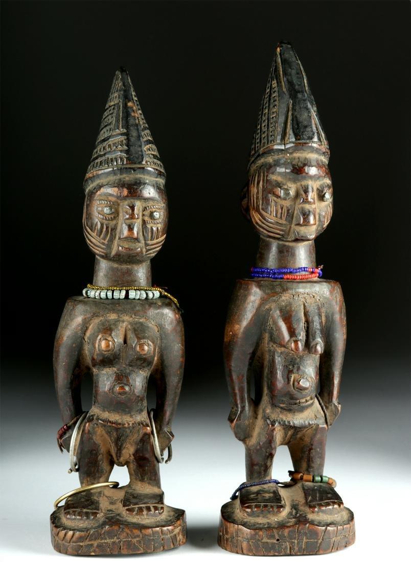 Early 20th C. African Yoruba Wooden Ibeji Twins