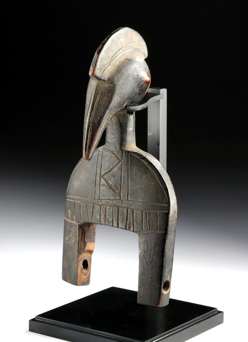 20th C. African Senufo Wood Heddle Pulley Avian Head