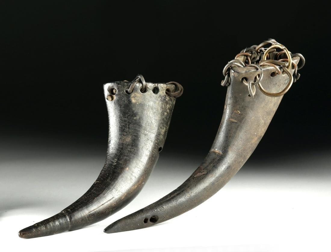 20th C. African Songye Buffalo Horn Rattles (pr)