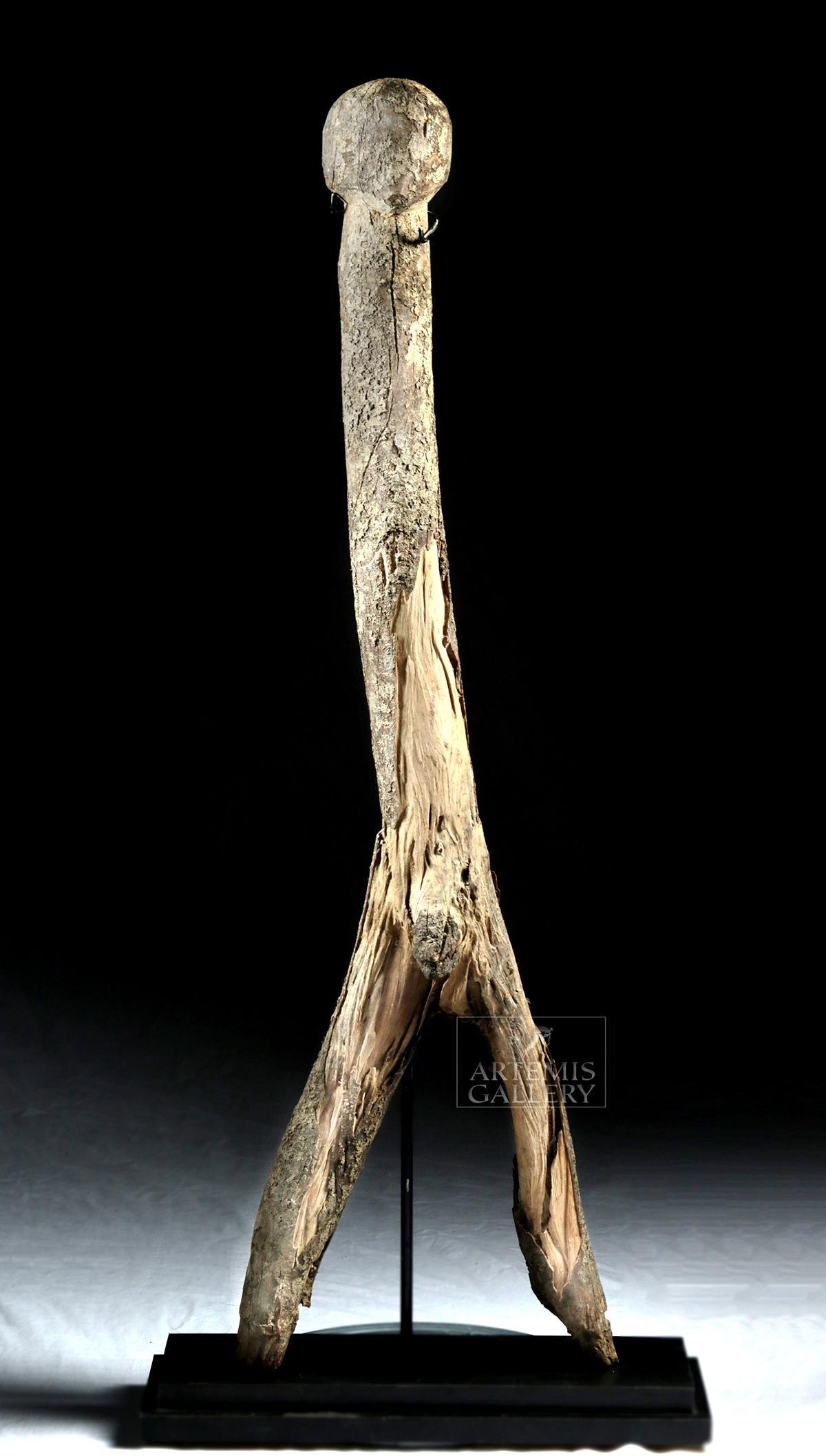 Early 20th C. African Burkina Faso Wood Figure, Phallic