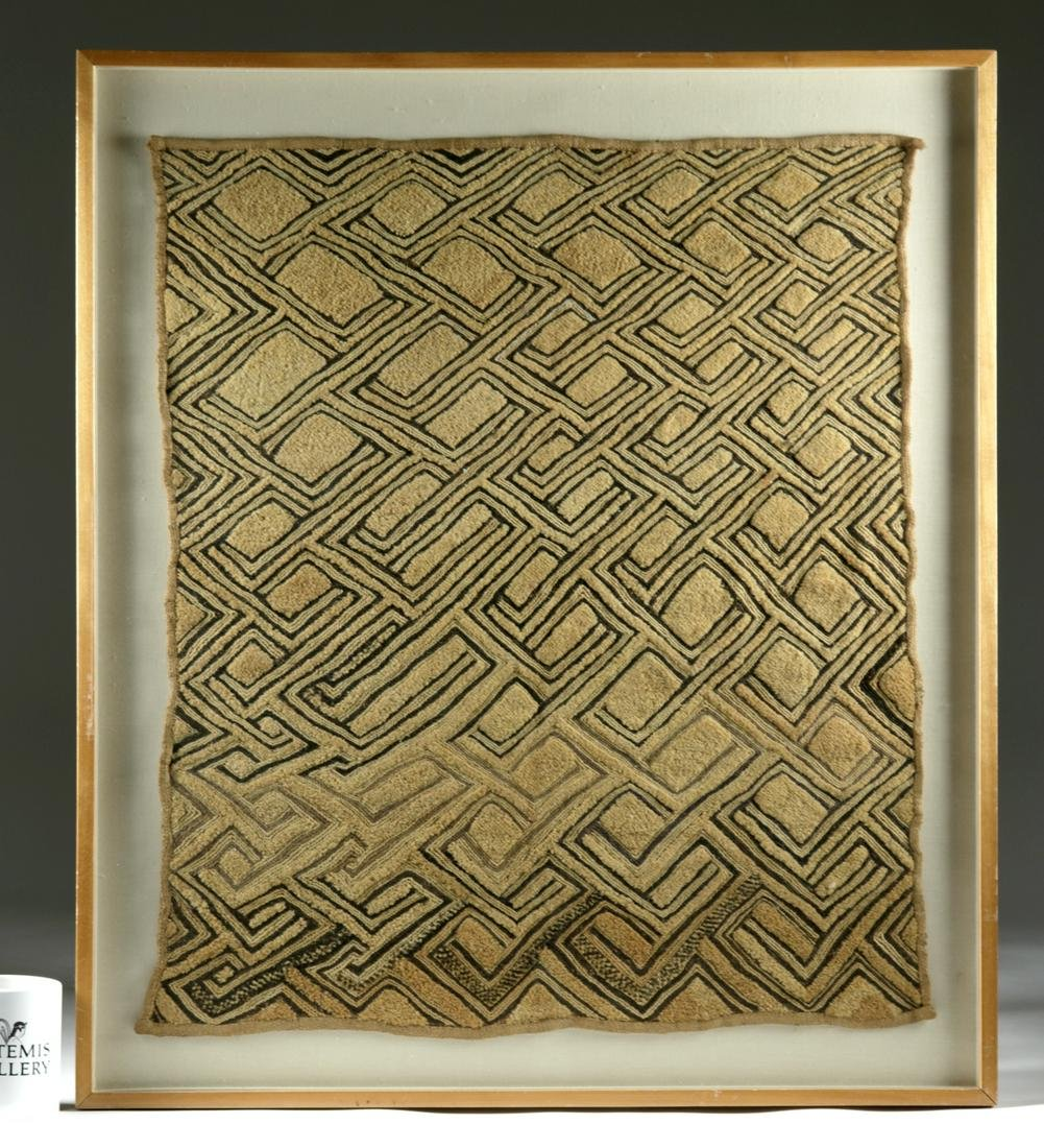 20th C. African Kuba Cloth Panel (Framed)
