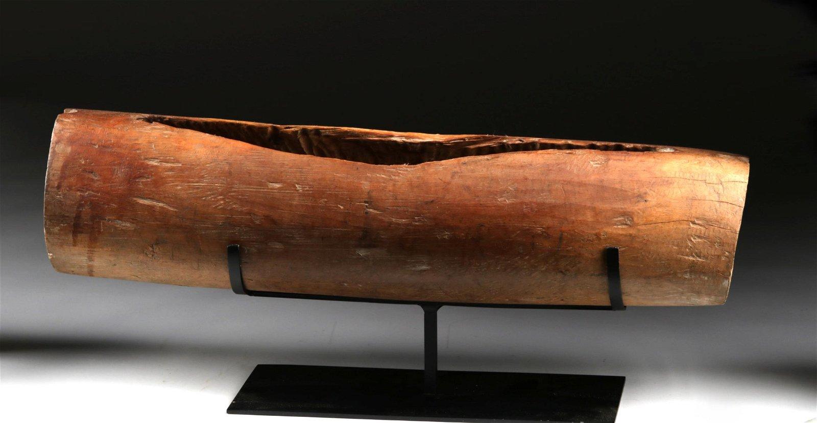 19th C. Polynesian Tahitian Wood Cylindrical Drum