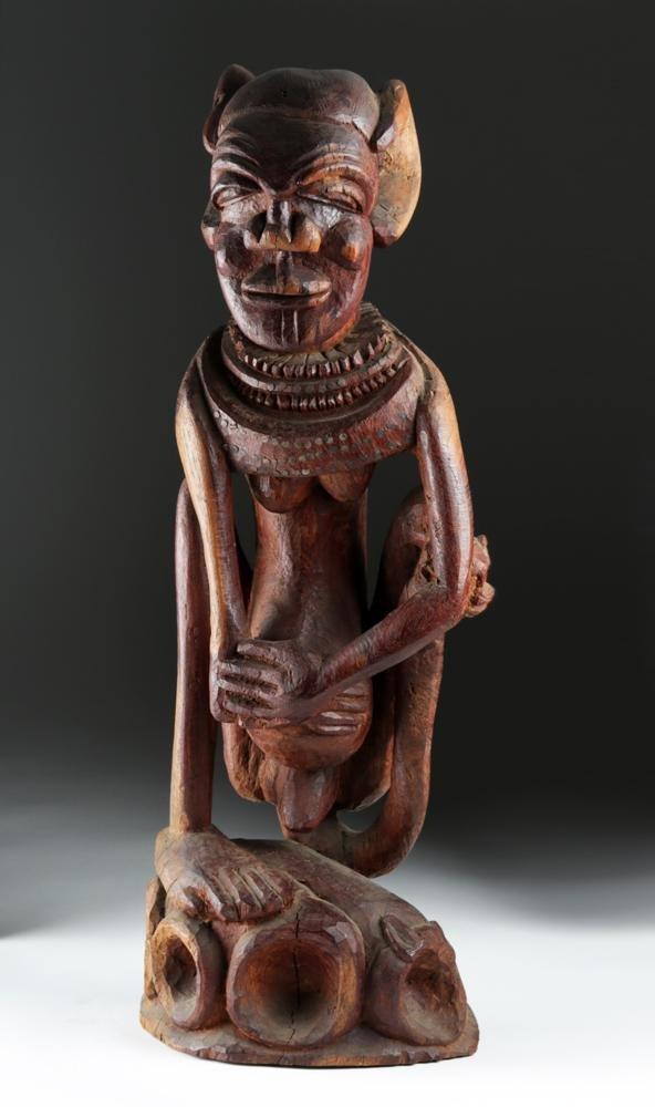 Haunting 20th C. Tahitian Wood Figural Statue