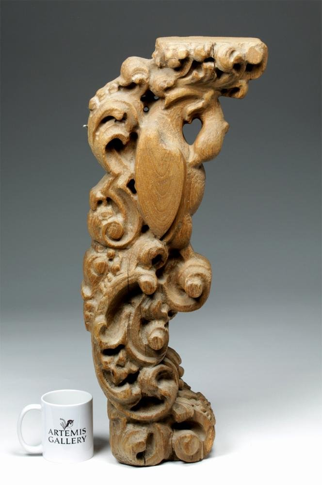 Tall 18th C. Mexican Wood Corbel - Bird of Prey