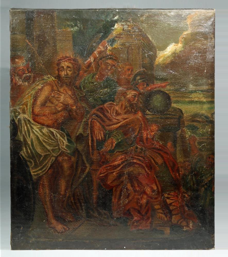 18th C. Mexican Oil Painting - Jesus & Pontius Pilate
