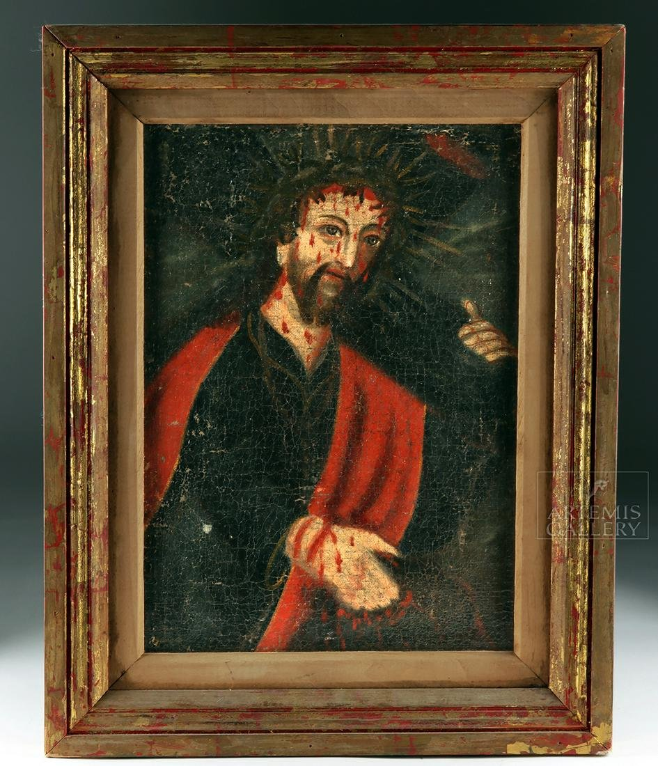 18th C. Mexican Oil Painting - Christ Carrying Cross