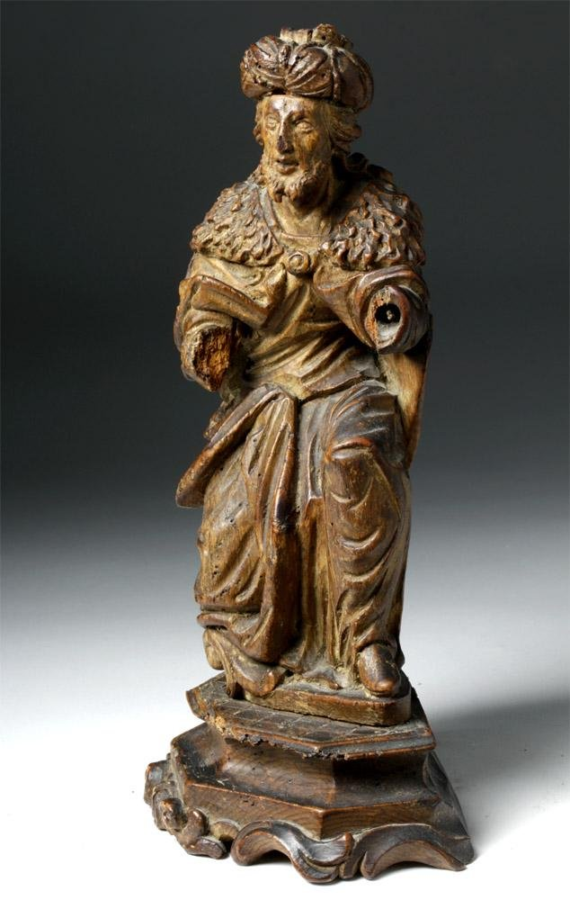 19th C. Spanish Colonial Wood Figure of a Magi
