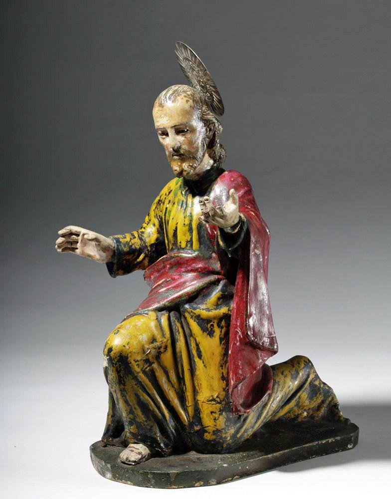 19th C. Spanish Colonial Santo - Kneeling Christ