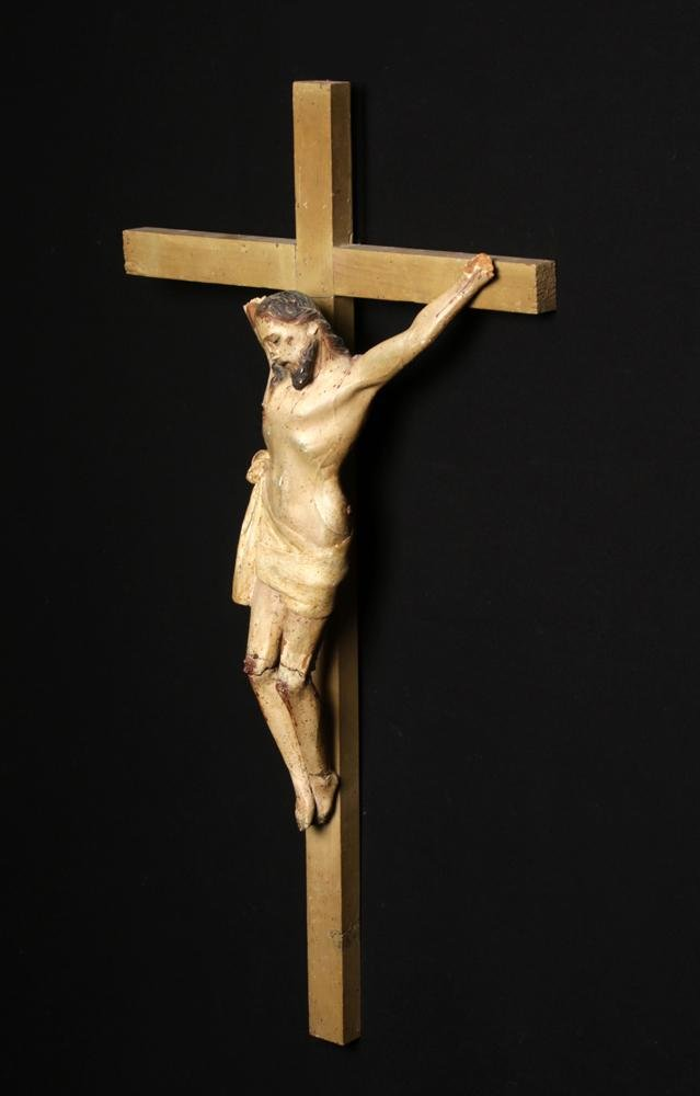 19th C. Mexican Painted Wood Cristo / Christ