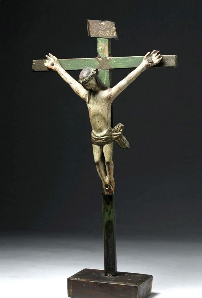 19th C. Guatemalan Painted Wood Cristo / Christ