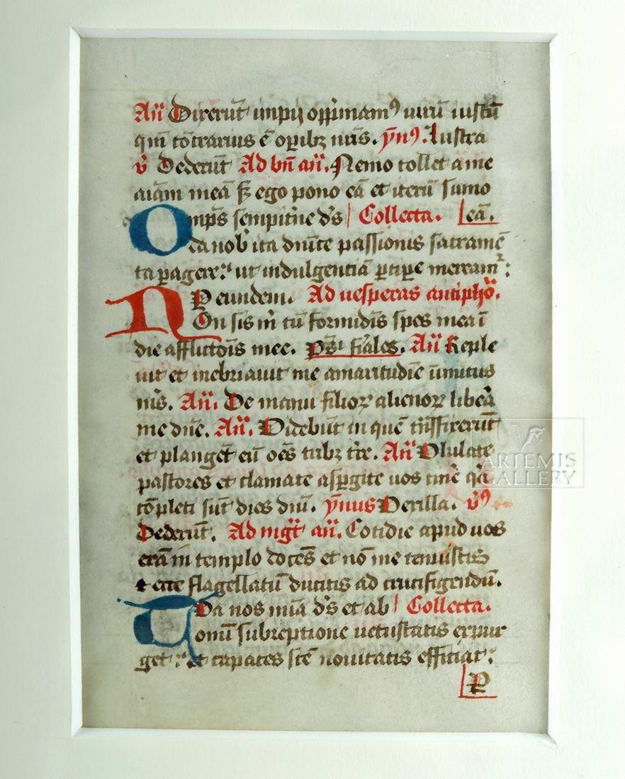 1420s Dutch Vellum Breviary Manuscript Leaf