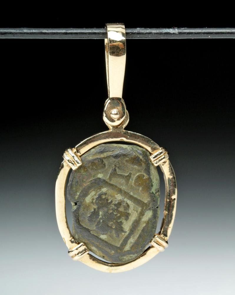 17th C. Spanish Charles II Silver Coin 14K Gold Pendant