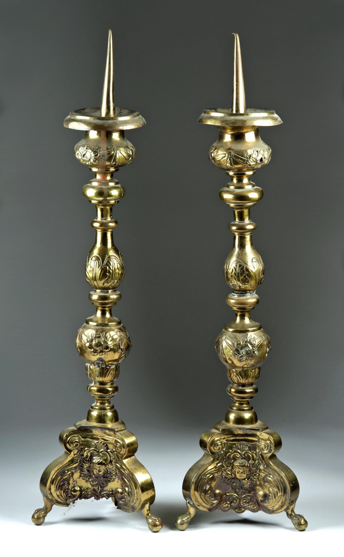 18th C. Italian Brass Prickets / Altar Sticks (pr)