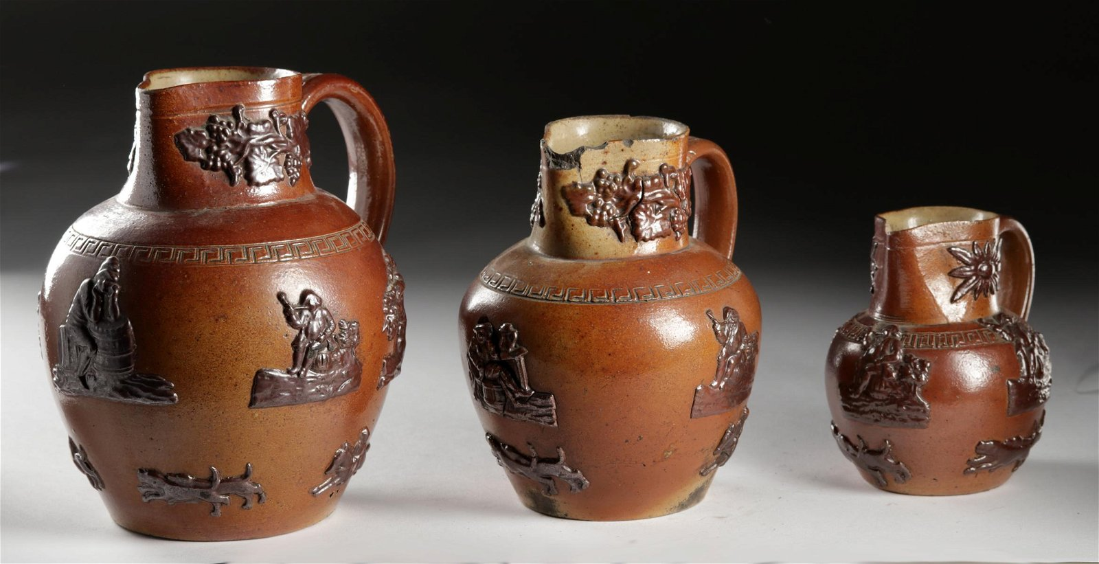 19th C. English Glazed Brownware Pitchers (3)