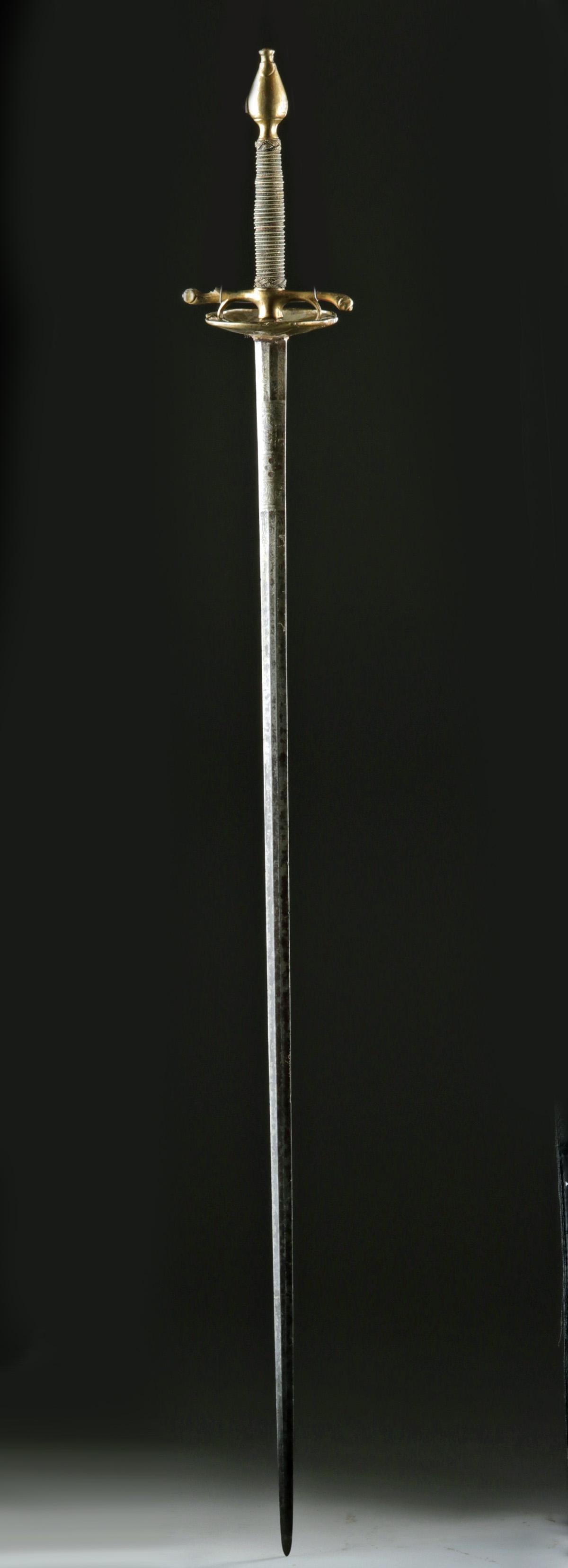Elegant 19th C. European Steel Spadroon, Bronze Handle