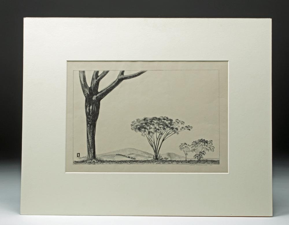 """Signed Lozowick Lithograph, """"Trees and Mountains"""" 1930"""