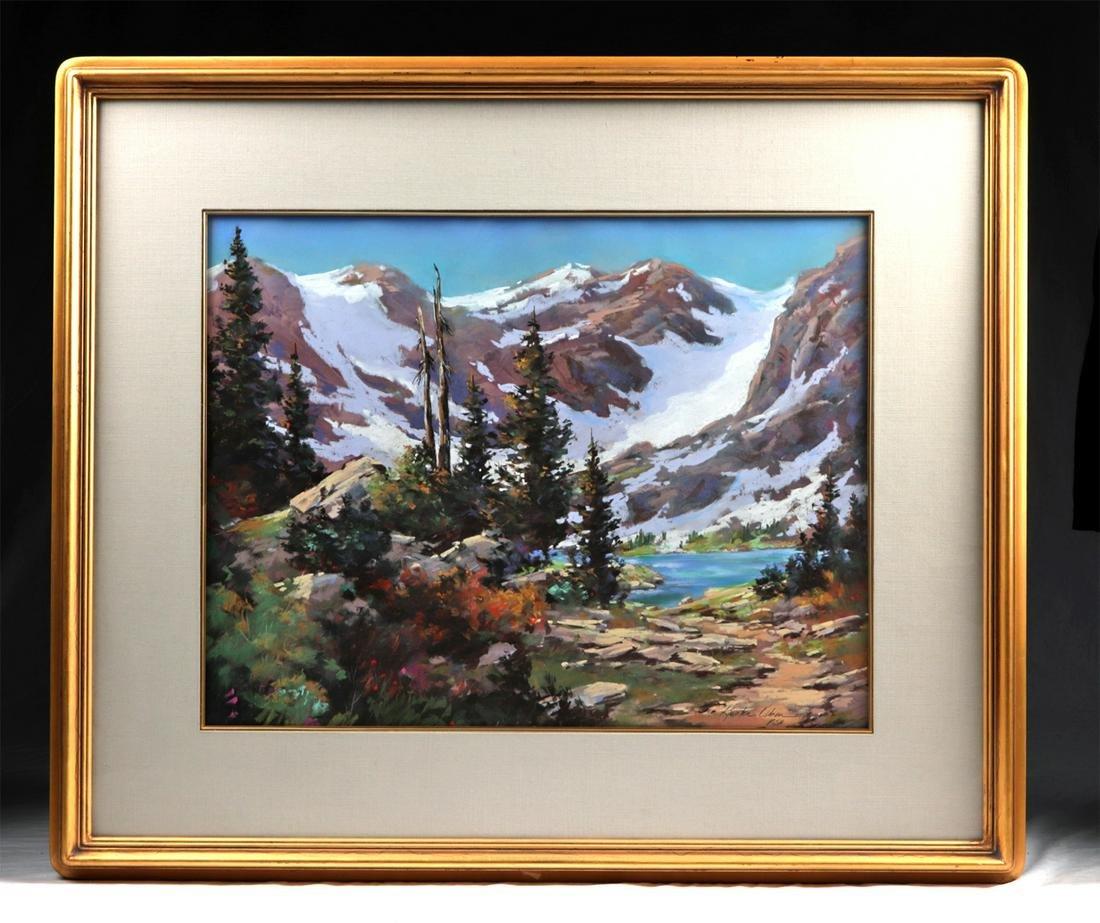 "Signed Olsen Pastel - ""Lake Isabelle"", 1990s"