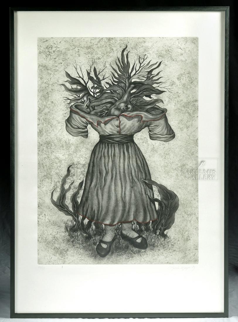 "L. Maya Etching w/ Aquatint ""Madre Corazon"" - 1989"