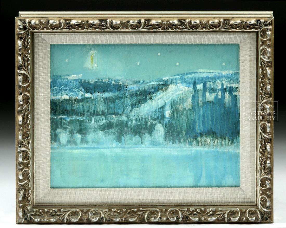 20th C. Tony Kraps Night Landscape Oil Painting
