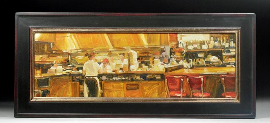 2003 Oil Painting, Those Red Stools - Ann Dettmer
