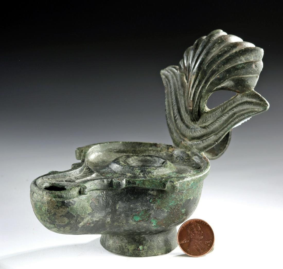 Holyland Byzantine Bronze Oil Lamp w/ Shell