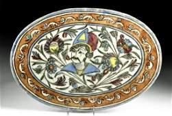 19th C Persian Qajar Glazed Pottery Tile Head of King
