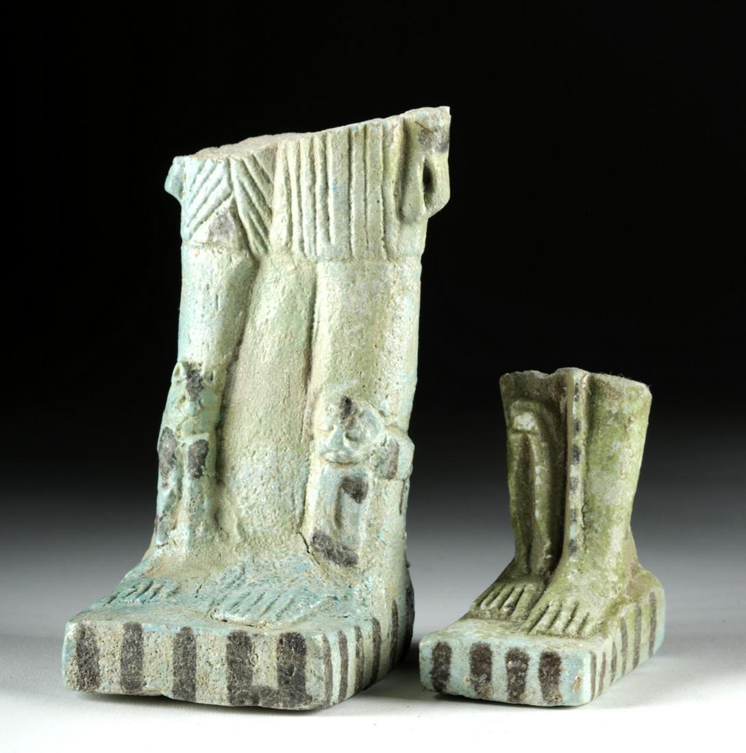 Lot of 2 Large Egyptian Faience Ushabti Fragments