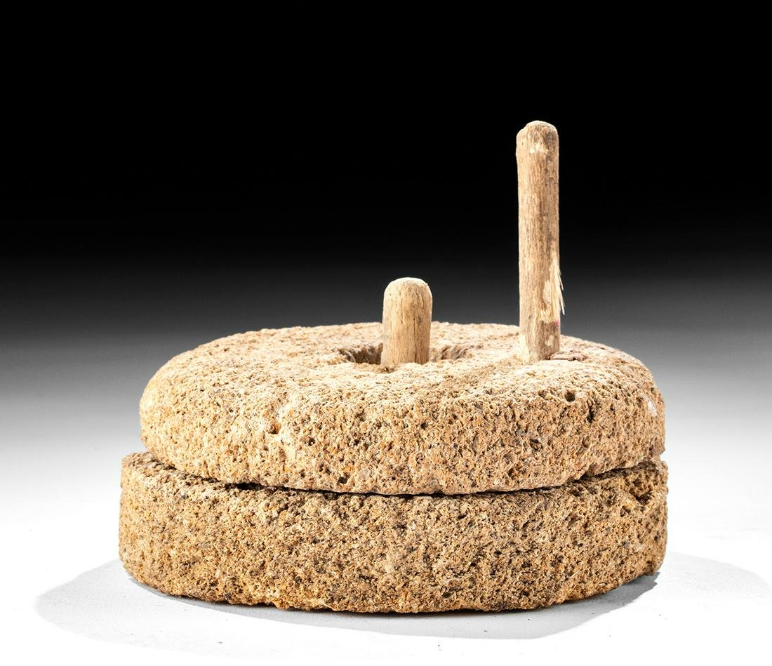 Egyptian Old Kingdom Millstone Model w/ Wood Handle